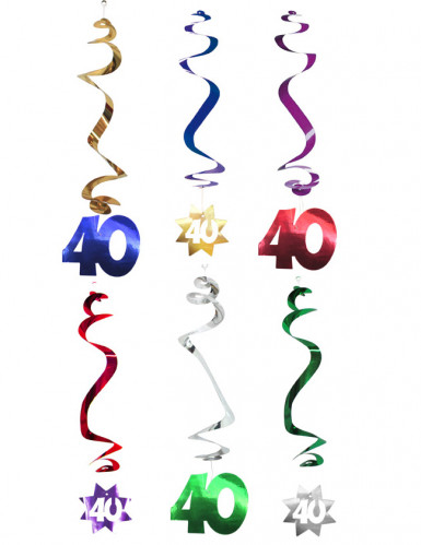 Confezione 6 decirazioni spirale da appendere 40 anni