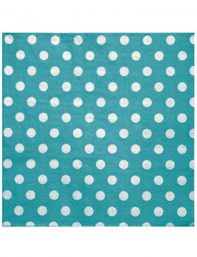 20 tovaglioli in carta color turchese a pois bianchi 33 x 33 cm