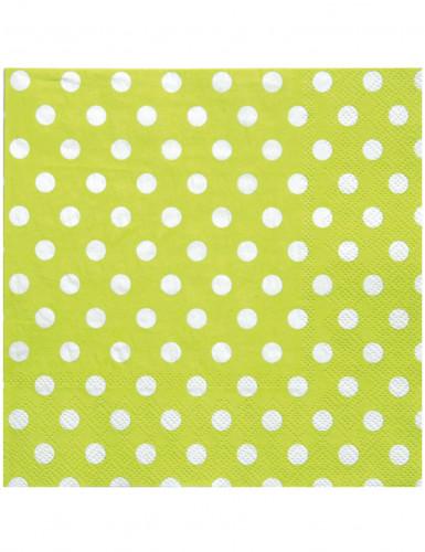 20 tovaglioli di carta di colore verde a pois bianchi 33 x 33 cm