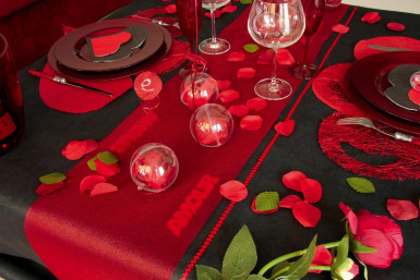 Scritta in legno Amour rosso con paillettes