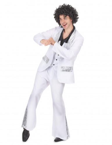 Costume disco bianco e argento per uomo-1