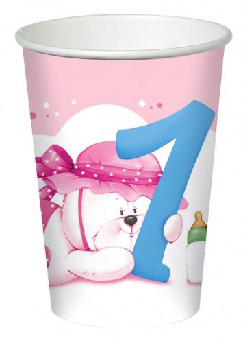 8 Bicchieri di carta con orsetto rosa