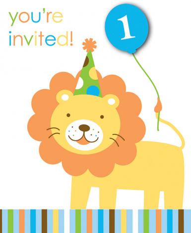 8 inviti cartoncino Animali Primo Compleanno
