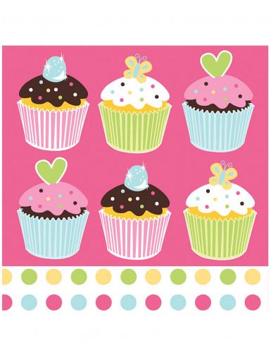 16 tovaglioli di carta rosa con cupcake 33x33 cm