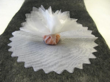10 veli rotondi di tulle bianco per confetti