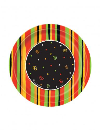 8 piattini di carta a righe colorate 18 cm