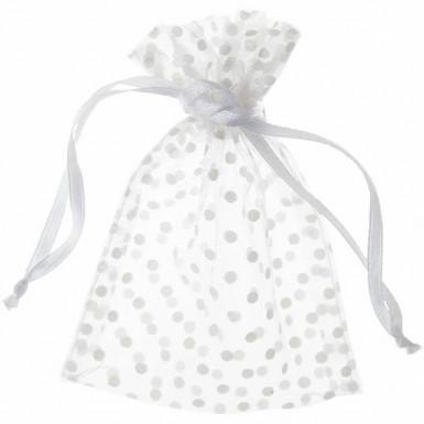 10 sacchetti organza pois bianco