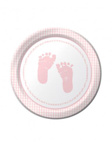8 piatti rosa decorati con piccoli piedi di dimensione 18 cm di diametro