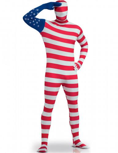 Costume attillato bandiera USA per adulto