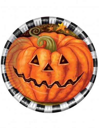 6 piatti di cartone con zucca Halloween