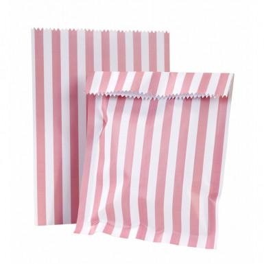 10 sacchetti di carta rigati rosa e bianchi