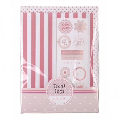 10 sacchetti di carta rigati rosa e bianchi-1