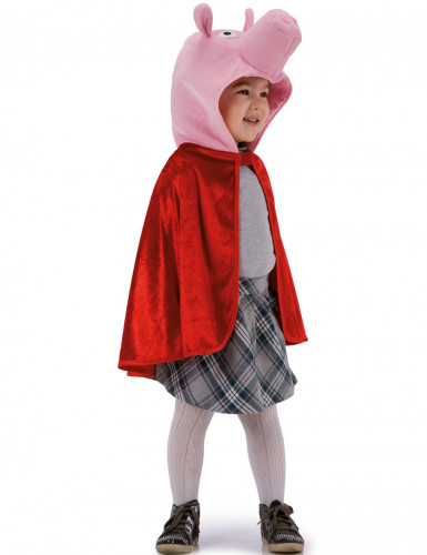 Mantello di colore rosso con maschera da maialino
