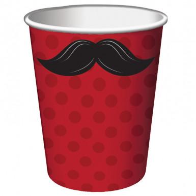 8 bicchieri rossi con baffi neri