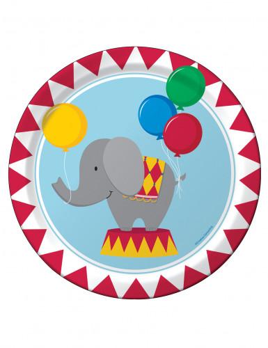 8 piattini di carta animali del circo