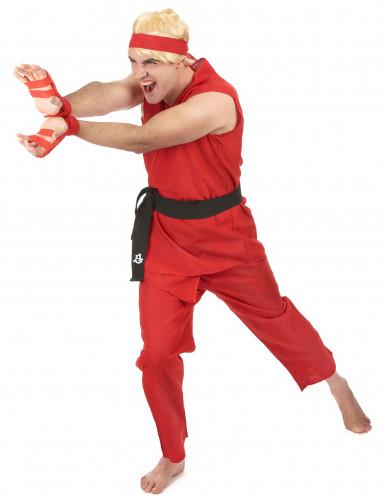 Costume rosso da guerriero di arti marziali per adulto-1