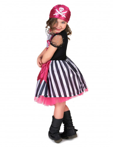 Costume da piratessa per bambina in rosa-2