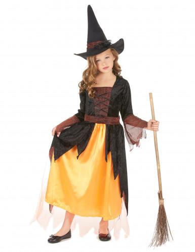 Costume per bambina da strega arancione
