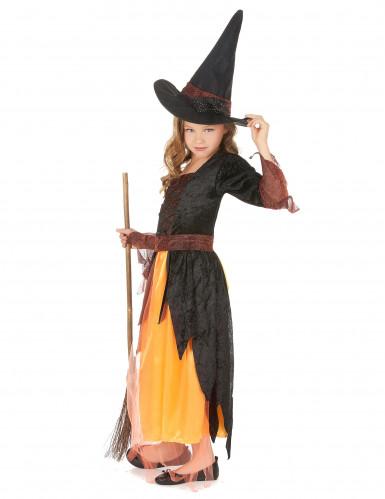 Costume per bambina da strega arancione-1