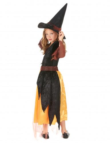 Costume per bambina da strega arancione-2