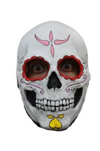 Maschera da scheletro con contorno occhi rossi adulto