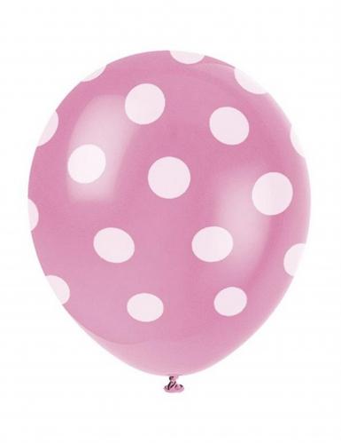6 palloncini rosa a pois bianchi