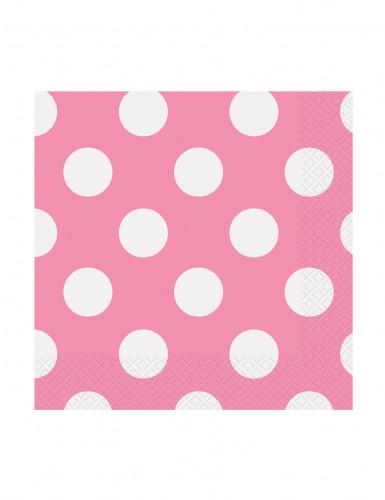 16 tovaglioli piccoli di carta rosa a pois bianchi di 25,4 x 25,4 cm