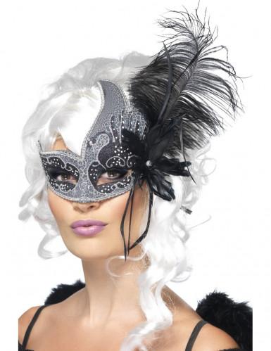 Mascherina veneziana da angelo nero