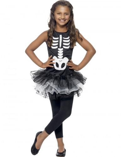 Costume nero da scheletro per bambina con tutù