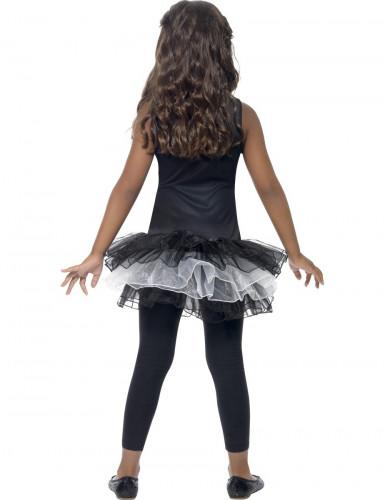 Costume nero da scheletro per bambina con tutù-2