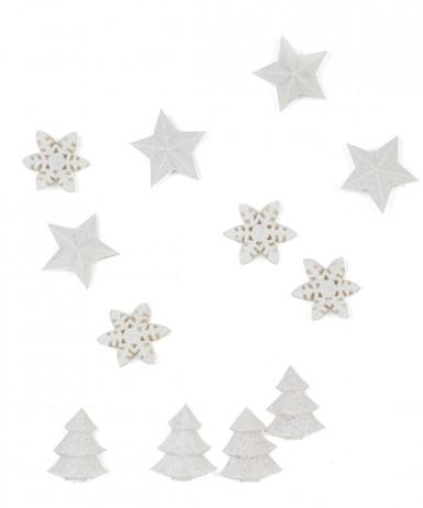 12 Decorazioni bianche di Natale per la tavola