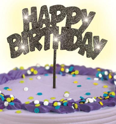 Decorazione nera luminosa per torta di compleanno-1