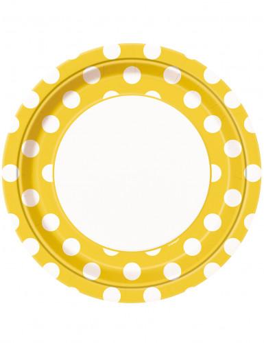 8 piatti gialli a pois bianchi in cartone 22 cm