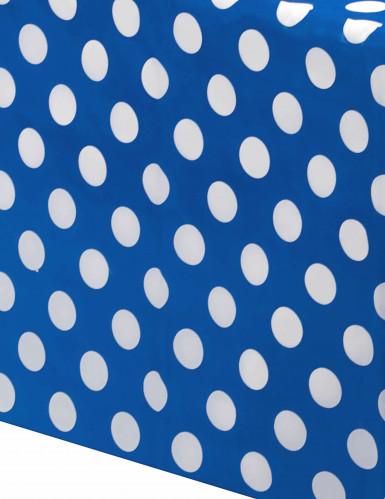 Tovaglia di plastica blu a pois bianchi 137x274cm-1