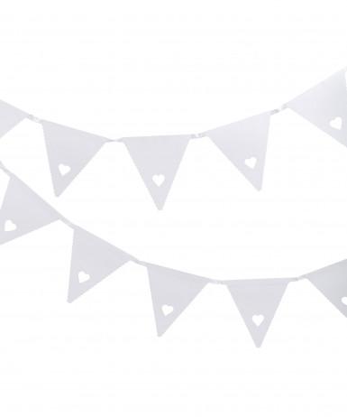 Festone di cartone bianco con cuoricini di 3m