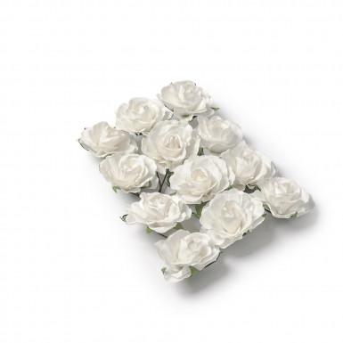 12 rose bianche di carta per le decorazioni
