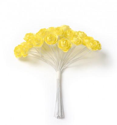 24 mini rose gialle su asta