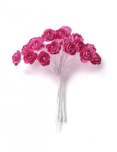 24 mini rose fucsia su stelo