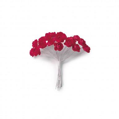 24 mini rose rosse con stelo