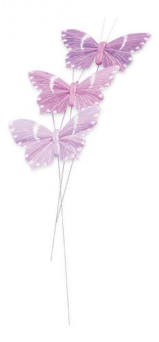 Confezione 3 farfalle lilla su stelo