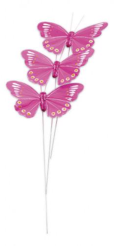 3 farfalle fucsia su uno stelo