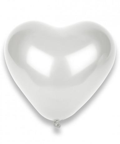 100 palloncini a forma di cuore bianchi