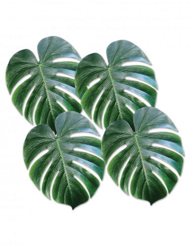 4 foglie di palma in plastica di colore verde