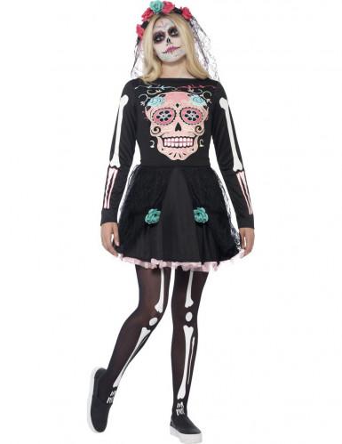 Costume scheletro colorato per ragazza Halloween
