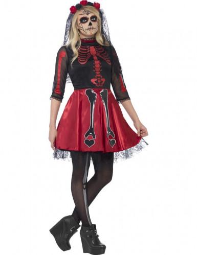Costume da scheletro rosso con paillettes per adolescente