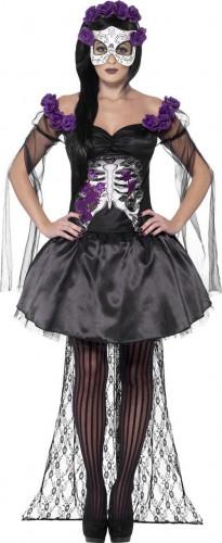 Costume di colore viola da scheletro con rose per donna