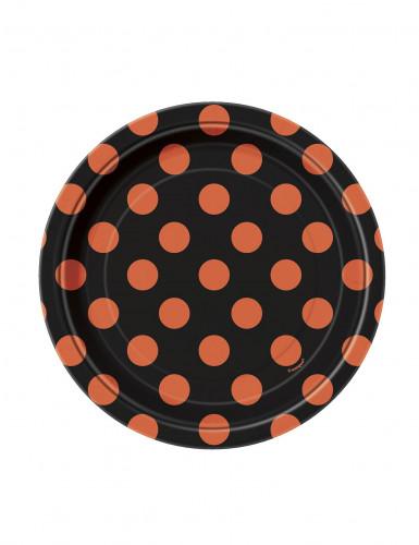 8 piatti neri a pois arancio