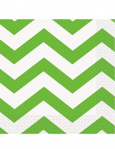 16 tovaglioli di carta zig zag verde e bianco