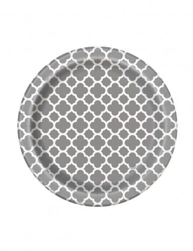 8 piattini di carta argento con motivo bianco ripetuto