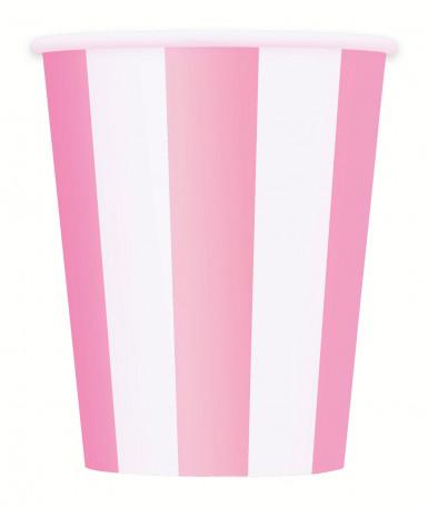 6 bicchieri di cartone bianchi a righe rosa 355 ml